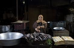 Fish vendor Affef Esmail lives in the working-class Imbaba neighborhood of Cairo, where prices are higher and customers fewer because of the continuing political unrest.