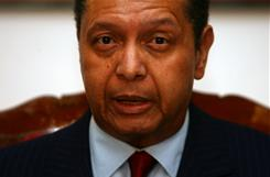 Ousted Haitian dictator Jean-Claude Duvalier speaks Jan. 21 at press conference in Petion Ville, Port au Prince.