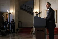 President Obama makes a statement at the White House on Friday after Egyptian President Hosni Mubarak resigned.