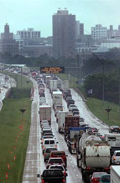 In this 2008 file photo, traffic on Interstate 380 slows in Cedar Rapids, Iowa.