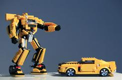 Hasbro's 2-in-1 Kre-O Transformers Bumblebee set comes with two sets of instructions so the same bricks build the vehicle version of the Transformer as well as the robot version.