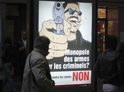 A poster of a pro-firearm initiative in Geneva. Referendum divided those who hoped to cut the high rate of firearms suicides and gun advocates.