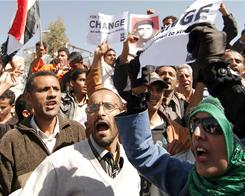 Yemenis protest near the presidential palace calling for the resignation of President Ali Abdullah Saleh, in power for 32 years.