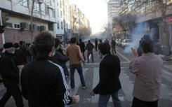 Clashes have erupted in central Tehran's Enghelab or Revolution square between security forces and opposition protesters.
