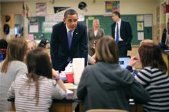President Obama visits a science class Monday at Parkville Middle School and Center of Technology in Parkville, Md. Obama unveiled a $3.73 trillion spending plan for 2012 on Monday.
