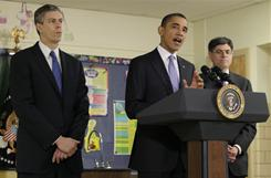 U.S. Education Secretary Arne Duncan, left, President Obama and Office of Management and Budget Director Jacob Lew speak at a Parkville, Md., middle school on Monday.