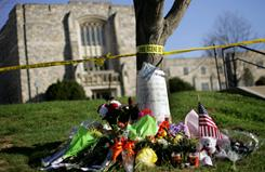 A memorial honors Virginia Tech shooting victims on April 22, 2007, in Blacksburg, Va. The rampage led to a law that aims to limit gun purchases.