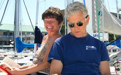 Phyllis Macay and Bob Riggle on a yacht in Bodega Bay, Calif., in 2005. The U.S. military said that pirates killed four American hostages they were holding on the yacht Quest off Somalia's coast. The duo was among those killed.