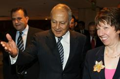 Egyptian Foreign Minister Ahmed Aboul Gheit greets EU foreign policy chief Catherine Ashton in Cairo on Tuesday. He is keeping his job, despite the shakeup.