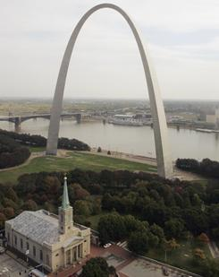 The Gateway Arch in St. Louis is the city's top tourist attraction.
