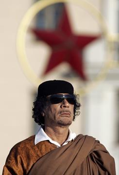 Libya's Moammar Gadhafi attends a ceremony in Minsk, Belarus.