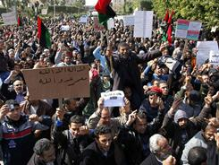 Anti-government protesters rally in the western city of Zawiya, Libya, on Sunday.