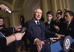 Senate Majority Leader Sen. Harry Reid tells reporters Tuesday that the Senate will pass the House's two-week budget extension.