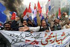 Pakistani Christians protest against the assassination of Christian government minister Shahbaz Bhatti in Islamabad.