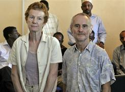 Released British hostages Rachel and Paul Chandler pose on Nov. 14 in Mogadishu, after being held by Somali pirates for 388 days.