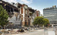 Shops on Manchester Street show earthquake damage on Saturday in Christchurch, New Zealand.