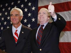 Arizona Sen. John McCain receives the endorsement of then-Florida Gov. Charlie Crist on Jan. 26, 2008, three days prior to the state's Republican presidential primary.