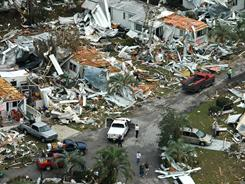 The aftermath of the tornado that killed Brittany May and several others on Feb. 2, 2007, in Lady Lake, Fla.