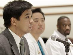 Dr. Gerard Francisco, left, Dr. Dong Kim and Dr. Imoigele Aisiku give a medical update on U.S. Rep. Gabrielle Giffords during a news conference Friday in Houston.