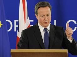 British Prime Minister David Cameron speaks at a news conference after an EU summit focused on Libya.