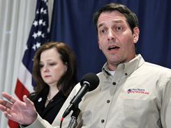 Tea Party Patriots co-founders Mark Meckler and Jenny Beth Martin attend a news conference at the National Press Club in Washington on Nov. 3.