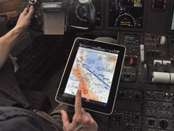 Pilots attach the iPad to their knee, where it can display an approach path to an airport, area maps, weather or a pilot's flight manuals.