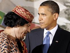 President Obama demanded Friday that Libyan leader Moammar Gadhafi halt all military attacks on civilians.