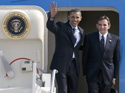 President Obama and now former U.S. ambassador to Mexico Carlos Pascual arrive at the Guadalajara, Mexico, airport Aug. 9, 2009.