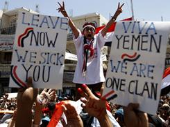 Yemeni anti-government protesters chant slogans demanding the resignation of President Ali Abdullah Saleh in Sanaa on Tuesday.