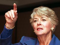 Former Democratic vice presidential candidate Geraldine Ferraro answers questions at a news conference on Jan. 5, 1998, in New York. She died Saturday.