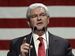 Former House speaker Newt Gingrich speaks at the Iowa Faith and Freedom Coalition.