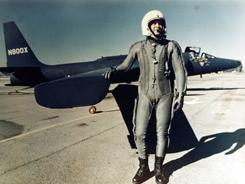 U.S. pilot Francis Gary Powers stands with a U-2 spy plane. He was shot down in such an aircraft over the Soviet Union in May 1960.