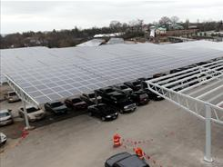 Solar panels installed at the Cincinnati Zoo and Botanical Garden parking lot will generate 20% of the zoo's electricity.