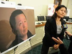 Geng He, the wife of missing Chinese dissident Gao Zhisheng, participates in a press conference held on Capitol Hill in January.