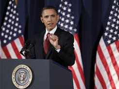 President Obama delivers his address on Libya at the National Defense University on Monday.