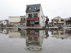 Rain falls in the earthquake and tsunami-destroyed city of Ofunato, northern Japan.