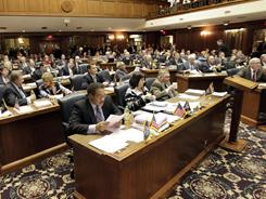 The Indiana House comes to order with nearly all members present at the Statehouse in Indianapolis on Monday.
