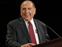 President of the Church of Jesus Christ of Latter-Day Saints Thomas Monson gives the opening talk at the 180th Annual General Conference of the church last April in Salt Lake City.