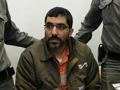 Palestinian engineer Dirar Abu Sisi attends a court session in the southern Israeli town of Beersheva on Monday.