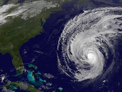 A NOAA satellite image shows Hurricane Igor swirling in the Atlantic on Sept. 19.