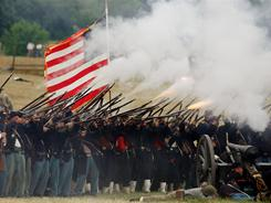 Re-enactors participate in a re-enactment July 3, 2005, in Gettysburg, Pa. The Battle of Gettysburg resulted in a pivotal victory for the Union.