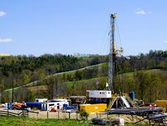 A Chesapeake Energy drills at a natural gas well site near Burlington, Pa., in Bradford County.