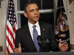 President Obama discusses the federal budget after a deal was reached between Democratic and Republican lawmakers Friday.