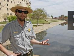 Justin Castro, a National Park Service employee at the Oklahoma City National Memorial, faces an uncertain future if the government shuts down.