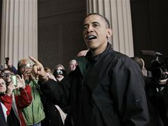 President Obama speaks to visitors at the Lincoln Memorial after reaching a deal with Congress to avert a government shutdown.