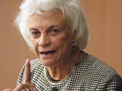 Former Supreme Court Justice Sandra Day O'Connor speaks at a law school in New York last April.