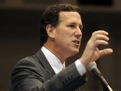 Former Pennsylvania senator Rick Santorum speaks Saturday at the Spartanburg County GOP Convention in Spartanburg, S.C.