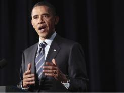 President Obama outlines his fiscal policy during an address Wednesday at George Washington University in Washington.