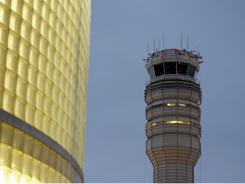 The FAA control tower at Reagan National Airport is seen in Arlington.