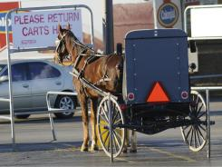 An Amish horse and buggy is parked at a food store in Hopkinsville, Ky. The First Amendment says Congress can�t restrict the free exercise of religion, and the Supreme Court has ruled that the Fourteenth Amendment extends those protections to state laws.